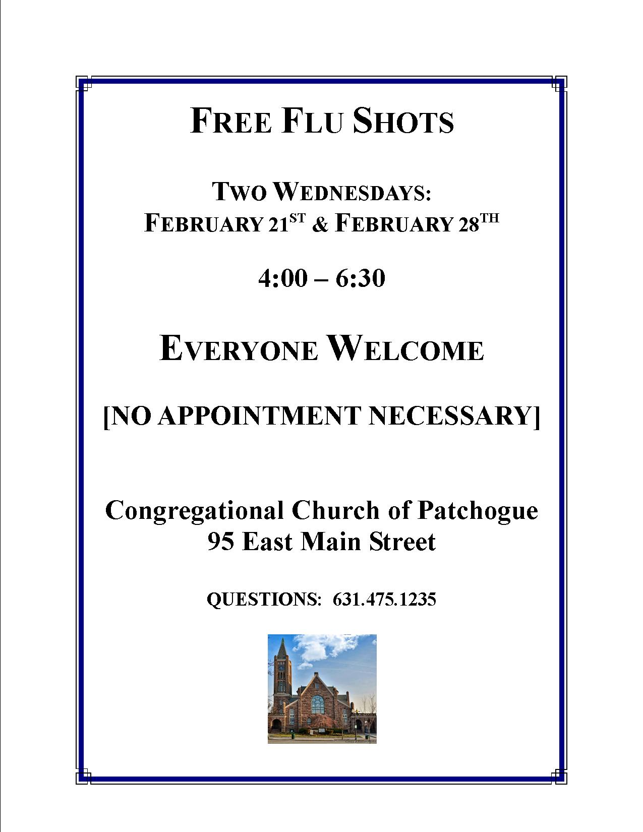 FREE FLU SHOTS @ Congregational Church of Patchogue | Patchogue | New York | United States